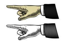 Mano con señalar el dedo stock de ilustración