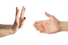 Mano con seis dedos y manos normales Imágenes de archivo libres de regalías