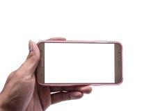 Mano con smartphone aislada, trayectoria de recortes Foto de archivo