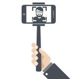 Mano con smartphone en el palillo del selfie Stock de ilustración