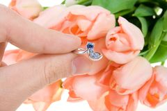 Mano con un anillo en un fondo de flores Imagen de archivo libre de regalías