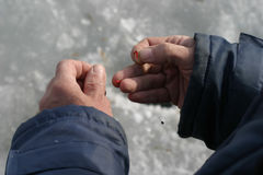 Mano con un cebo de pesca Fotos de archivo libres de regalías