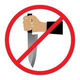 Mano con un coltello Nessun segno delle armi illustrazione di stock