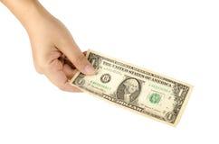 Mano con un dollaro Immagini Stock Libere da Diritti