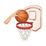 Mano con una palla vicino al canestro Singola icona nel rater di stile del fumetto, web a memoria d'immagine di pallacanestro del royalty illustrazione gratis