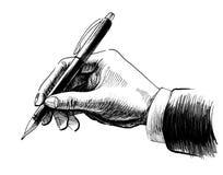 Mano con una pluma ilustración del vector