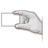 Mano con una tarjeta de visita blanca Imagen de archivo libre de regalías