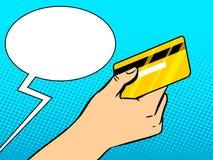 Mano con vector del arte pop de la tarjeta de banco ilustración del vector
