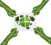 Mano, concepto del símbolo de la ecología Imágenes de archivo libres de regalías