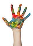 Mano coperta in vernice Fotografie Stock Libere da Diritti