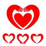 Mano-corazón Conjunto de iconos del vector Imágenes de archivo libres de regalías
