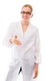 Mano d'offerta dello scienziato femminile per la stretta di mano Immagini Stock Libere da Diritti