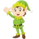 Mano d'ondeggiamento dell'elfo sveglio di Natale del fumetto Immagine Stock