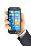 mano 3d que sostiene smartphone Imagen de archivo libre de regalías