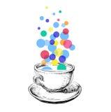 Mano de Art Sketch Coffee Cup Bubbles dibujada Fotos de archivo