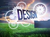 Mano de Businesswomans que presenta el diseño de la palabra Fotos de archivo