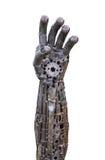 Mano de cibernético metálico o robot hecho de los trinquetes mecánicos Imagen de archivo libre de regalías