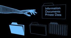 Mano de Digitaces que alcanza para las carpetas digitales con datos confidenciales Imágenes de archivo libres de regalías