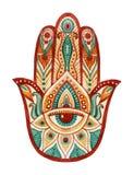 Mano de Hamsa en acuarela Amuleto de la suerte protectora y buena en indio, culturas judías árabes Mano de Hamesh en colores vivo Imagen de archivo libre de regalías