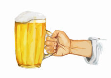 Mano de la acuarela con la cerveza