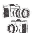 Mano de la cámara de la foto dibujada Fotografía de archivo