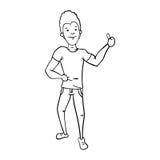 Mano de la demostración del hombre con el pulgar encima de colorized11 Foto de archivo libre de regalías