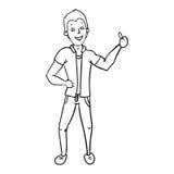 Mano de la demostración del hombre con el pulgar encima de contour2 Imagen de archivo libre de regalías