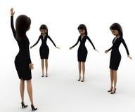 mano de la demostración del líder de la mujer 3d encima del concepto Imagen de archivo libre de regalías