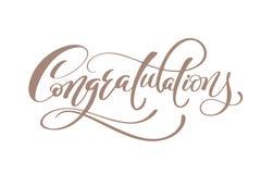 Mano de la enhorabuena que pone letras al vector caligráfico de la inscripción del saludo manuscrito