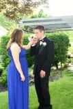Mano de la fecha del baile de fin de curso del muchacho que se besa adolescente Foto de archivo libre de regalías