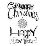 Mano de la inscripción de las letras dibujada Feliz Navidad y Feliz Año Nuevo Fotografía de archivo libre de regalías