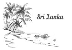 Mano de la isla de Sri Lanka del Palm Beach dibujada Ejemplo del vector del bosquejo de Sri Lanka stock de ilustración