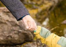 Mano de la mano del cabrito adulto del asimiento Fotos de archivo libres de regalías