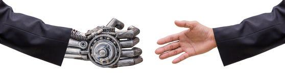 mano de la mano del robot del hombre y de las CY-azufaifas en traje con el isolat del apretón de manos Imágenes de archivo libres de regalías