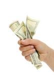 Mano de la mujer con 100 billetes de dólar Imagen de archivo