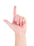 Mano de la mujer con señalar el dedo foto de archivo libre de regalías
