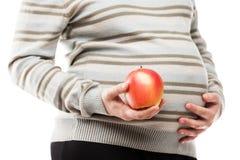 Mano de la mujer embarazada que sostiene la fruta madura cruda roja de la manzana Foto de archivo