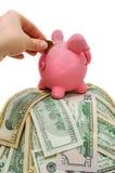 Mano de la mujer que pone la moneda en la hucha con el dinero Imagen de archivo libre de regalías