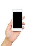 Mano de la mujer que sostiene el teléfono elegante Fotos de archivo libres de regalías
