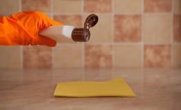 Mano de la mujer que sostiene la esponja amarilla y que vierte el líquido de la limpieza en él Economía doméstica y concepto de l Fotos de archivo