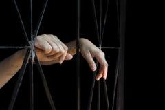 Mano de la mujer que sostiene la jaula, abuso, concepto de tráfico humano fotos de archivo