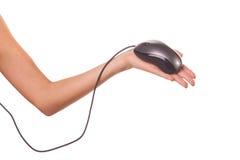 Mano de la mujer que sostiene un ratón del ordenador fotos de archivo libres de regalías