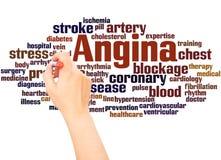 Mano de la nube de la palabra de la angina que escribe concepto fotos de archivo