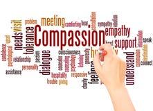Mano de la nube de la palabra de la compasión que escribe concepto imágenes de archivo libres de regalías