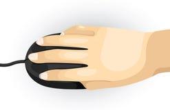 Mano de la parte del cuerpo usando ratón Foto de archivo libre de regalías