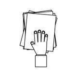Mano de la persona con la pila de papeles Fotografía de archivo