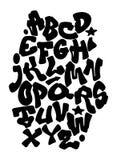 Mano de la pintada que pone letras a alfabeto Fuente de vector ilustración del vector