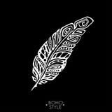 Mano de la pluma de Boho del indio dibujada Imagenes de archivo