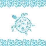 Mano de la tortuga del agua dibujada Modelo del capítulo de los guijarros del mar Imagen de archivo libre de regalías