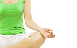Mano de la yoga, meditación de la mujer que se sienta en Lotus Pose Imágenes de archivo libres de regalías